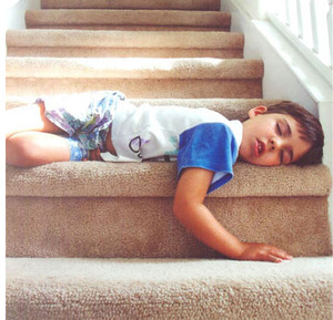 Sleeping on the stairs