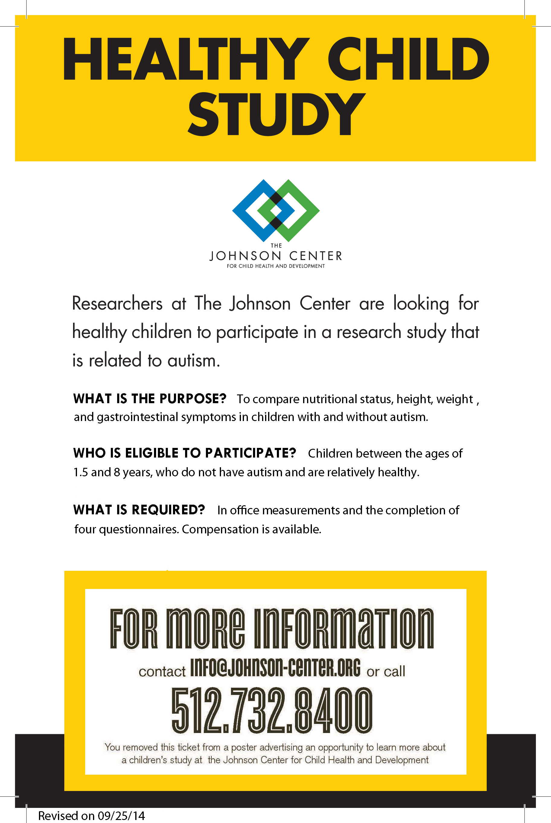 Opportunities To Participate In Autism >> The Johnson Center For Child Health Development Research